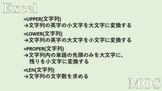 Excel、UPPER関数、LOWER関数、PROPER関数、LEN関数